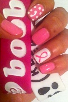 Breast Cancer Awareness Nails. I think these will be my October nails <3