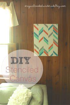 DIY Stenciled Canvas using the Herringbone Shuffle Stencil by Megan Brooke Handmade! http://meganbrookehandmadeblog.com/2013/06/diy-stenciled-canvas-royal-design-studio.html