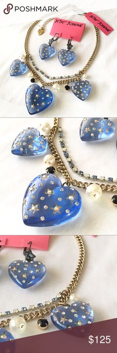 Betsey J 'Heavens To Betsey Blue Heart/Star Set From a beautiful retired, popular collection.   Blue lucite puffy hearts are studded with stars and crystals. Deep blue, blue colors, white crystals, and faux pearl accents.   NWT, no flaws. Collectible and HTF.  Lovely! Betsey Johnson Jewelry Necklaces