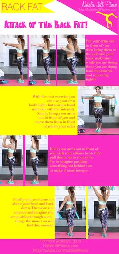 New printable workout card is up! Attack of the Back Fat! Click the image to view the workout video that goes with this!