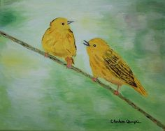 Yellow Warblers Original Art Birds in Primary #5 in Series on Streched Canvas 8 x 10 - pinned by pin4etsy.com
