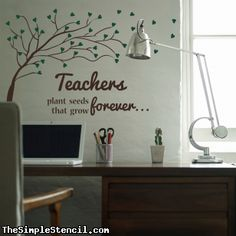 This inspirational vinyl wall quote will surely motivate teachers on days they need it most. It can also remind students the important role a teacher plays in the learning process. This can be placed on the walls of the classroom, teacher faculty or office. Choose your school colors as the leaves or keep it traditional, either way it will add some beautiful inspiration to your school walls.  ~ from TheSimpleStencil.com, manufacturing vinyl transfers since 2002
