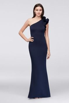 Ruffled One-Shoulder Scuba Mermaid Gown  28f89510cf2f