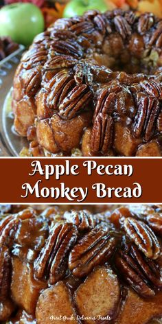 Apple Pecan Monkey Bread is a perfect fall dessert loaded with delicious pecans, apples and cinnamon. Apple Pecan Monkey Bread is a perfect fall dessert loaded with delicious pecans, apples and cinnamon. Pecan Recipes, Apple Recipes, Fall Recipes, Holiday Recipes, Cooking Recipes, Bread Recipes, Oreo Dessert, Dessert Bread, Brunch Recipes