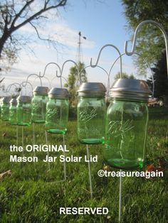 Wide Mason Jar Solar Lids RESERVED, the Original by TreasureAgain on Etsy  http://etsy.me/1hHW3Kt