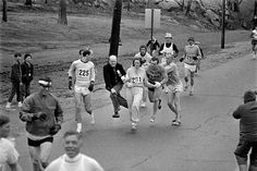 Kathrine Switzer is the first woman to run the Boston Marathon as a numbered entry. She entered and completed the race in 1967, five years before women were officially allowed to compete in it. She registered under the gender-neutral 'K. V. Switzer'. Race official Jock Semple attempted to remove her from the race, and is noted to have shouted, 'Get the hell out of my race and give me those numbers.' However, Switzer's boyfriend, who was running with her, shoved Semple aside and sent him…