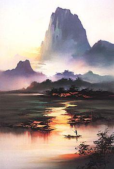 """""""Li River Morning"""" ~ Hong Leung / montagnes / rivière / marais / crépuscule / paysage / couleur"""