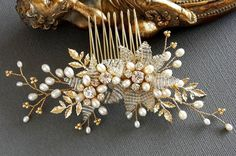Pearl Comb Gold pearl comb freshwater pearl comb wedding