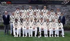 County Cricket Club at Lord's in London, circa 1983. Back row (from left): Colin Metson, Neil Williams, Bill Merry, Norman Cowans, Kevan James, Rajesh Maru and William Robins; middle row (from left): Harry Sharp (scorer), Don Bennett (coach), Simon Hughes, Keith Tomlins, Colin Cook, Paul Downton, Andy Smith, Keith Brown and John Miller (physio); front row (from left): Wilf Slack, Wayne Daniel, Phil Edmonds, Mike Gatting, John Emburey, Clive Radley, Graham Barlow and Roland Butcher