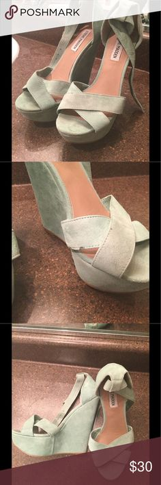 Mint green Steve Madden wedges So cute! I'm reposhing them since they were too high for me Steve Madden Shoes Wedges