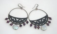 Amanda Chalmers jewellery - Cut out Silver Aztec Hoop Earrings with White and Pink Pearls