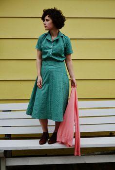 State Fair 1935 Shirt Dress / Mint Dress / Summer Cotton Dress / Womens clothing / Womens dresses / 1930s, 1940s Dress / Vintage Inspired