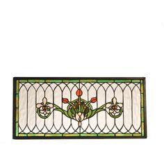 22.5 Inch W X 10.5 Inch H Tulip & Fleurs Stained Glass Window - Custom Made