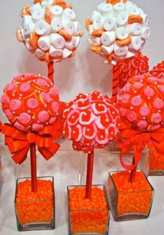 Orange Mango Pink Fuschia Gummy Bear Candy Centerpiece Topiary Tree, Candy Buffet Decor Arrangement Wedding, Mitzvah, Decor via Etsy Gummy Bear Candy, Gummy Bears, Lollipop Candy, Baby Shower Candy, Baby Boy Shower, Baby Showers, Bebidas Com Rum, Postres Halloween, Candy Trees