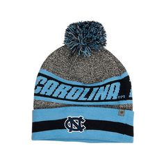 Top Of The World North Carolina Tar Heels College Cumulus Knit Beanie... ($2.99) ❤ liked on Polyvore featuring accessories, hats, blue beanie hat, gray beanie hat, beanie cap, gray beanie and grey knit hat