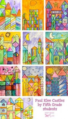 Paul Klee Art Lesson is part of Paul Klee Art Lesson Deep Space Sparkle - Students learn how to practice drawing quick rectangular shapes and paint warm and cool colors into those shapes using Paul Klee art inspiration and Paul Klee Art, Elementary Art