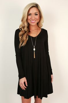 Travel Time V-Neck Shift Dress in Black