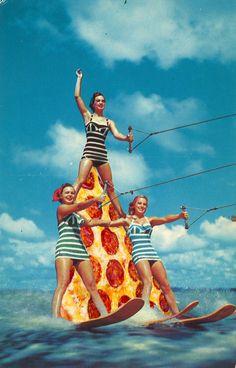 Pizza art Vintage arte surreal collage