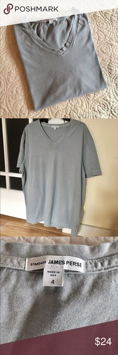 James Perse Men's cotton T-shirt Sz 4 (XL) James Perse Men's T-shirt Sz 4 (XL).  Beautiful soft light blue v-neck short sleeve T-shirt made of 100% combed cotton.  It maybe what JP calls their 'Kelp' color but not 100% sure.  Worn and washed once. Great condition. James Perse Shirts Tees - Short Sleeve