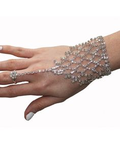 1920's Great Gatsby Inspired Crystal Hand Chain Bracelet