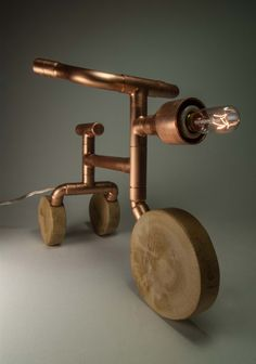 Copper Table Lamp Steampunk Lamp Tricycle exposed by MarzaShop