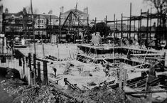 Worthing Town Hall under construction. Looking North towards Stoke Abbott Road. Convent of the Holy Rood replaced by Stoke Abbott Court shortly afterwards