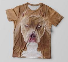 c428f929b Camiseta 3D Estampa Total De Animais - Cachorro - Pitbull