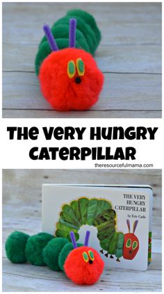 Pom-pom kid craft inspired by The Very Hungry Caterpillar by Eric Carle.