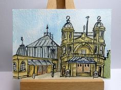 An original ink and watercolour painting of Buxton Opera House in the High Peak of Derbyshire, England.  It is ACEO size - 6.4cm x 8.9cm (2.5 x