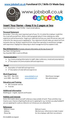 Functional Skills CV made easy with www.jobsball.co.uk simple cv templates