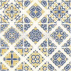 Blue and yellow ornamental azulejos tiles. Great for fabric and textile, ceramic tiles, wallpaper, packaging or any desired idea. Tile Patterns, Pattern Designs, Portuguese Tiles, Decorative Tile, Vector Pattern, Vector Design, Blue Yellow, Damask, Baroque