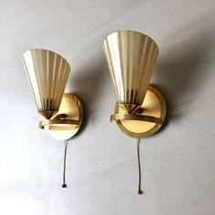 Vintage Wandlampen, Tütenlampen, Leuchten Messing, Rockabilly Leuchten, Art Deco Leuchte, Mid Century Wandlampe von moovi auf Etsy