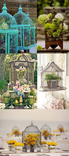 Gaiolas com flores. O resultado é romântico e pode servir de decoração à mesa de festa, tanto quanto para deixar na varanda ou na sala.