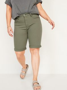 High-Waisted Pop-Color Bermuda Jean Shorts for Women -- 9-inch inseam | Old Navy Bermuda Shorts Women, Confidence Boost, Shop Old Navy, Double Breasted Coat, Old Navy Women, High Waist Jeans, Jean Shorts, Color Pop, Thighs