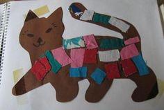 Lapjeskat,kat,poes, knutselen met peuters en kleuters