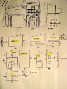 Resultado de imagen para bocetos para belenes Cardboard Box Houses, Just Miniatures, Ashley Wood, Building Furniture, Diy Furniture, Small Buildings, Miniature Houses, Tiny Houses, Christmas Nativity