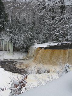 Tahquamenon Falls in Michigan! Rode my snowmobile there with my hubby a few winters ago!  So beautiful.....