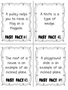 simple machine scavenger hunt for facts- provides the facts and the question/recording sheet- good to know if i ever have to teach that again! Fourth Grade Science, Primary Science, Kindergarten Science, Elementary Science, Science Classroom, Teaching Science, Teaching Ideas, Science Resources, Science Lessons