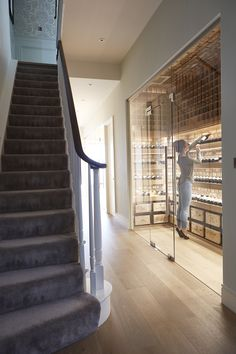 48 New Ideas For Stairs Design Glass Wine Cellar Glass Wine Cellar, Home Wine Cellars, Wine Cellar Design, Wine Cellar Modern, Wine Shelves, Wine Storage, Caves, Wine Cellar Basement, Wine Display