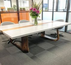 Polished Concrete Table Top With Timber Strip And Base By Mitchell Bink Design Www