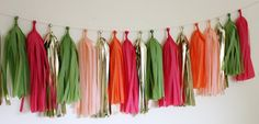 Tissue Tassel Garland18 tasselsPreppy Pink and by TheFlairExchange, $32.00  Pink and Green Lust!