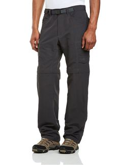 The North Face Men's Paramount Peak II Convertible Pant are a must during one of my geocaching adventures I've encountered thick brush with these pants and have emerged without a scratch. The nylon is thick, yet it still feels lightweight.  The pockets are large, and fit my large screen smart phone quite well. For long hikes the legs detach—making this a great pant all year round.