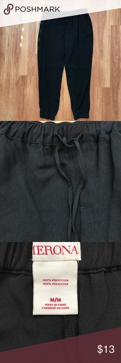 Merona Black Ankle Pants Merona black pants.elastic waist with drawstring and elastic ankles. New without tags.  Top listed separately. Merona Pants Ankle & Cropped