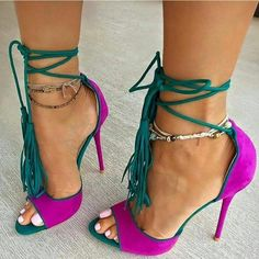 Women's Style Pumps and D'orsay Heels Womens Fashion Prom Dress Shoes Magenta and Green Stiletto Heels Suede Lace Up Strappy Heels Pumps Christmas Party Outfit Christmas Gifts For Friend Holiday Party Outfit Winter Outfits 2017 for Party, Night club, Ball, Date | FSJ