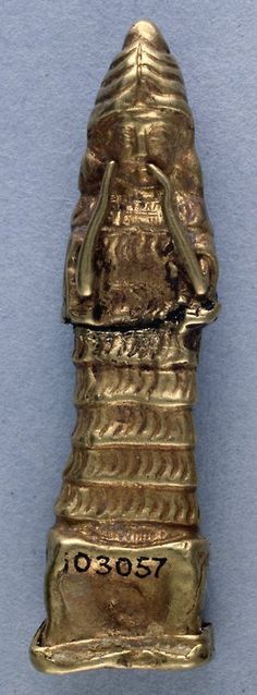 """Gold Amulet of Lama Old Babylonian (c.2000-1750 BC) This amulet is a representation of the Babylonian goddess Lama wearing a four horned headdress. She holds her hands up pleading on the behalf of the person who dedicated this object in a temple or shrine. She wears a heavy necklace and a special """"flounced"""" garment. Her figure also appears on Mesopotamian cylinder seals. (Source: The British Museum)"""