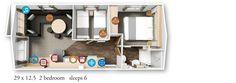 Willerby Granada 2016 29x12.5-2bed floor plan