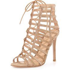 Gianvito Rossi Suede Caged Lace-Up Sandal (€575) ❤ liked on Polyvore featuring shoes, sandals, heels, bisque, shoes sandals classic, caged sandals, heeled sandals, laced sandals, open toe sandals and strappy sandals