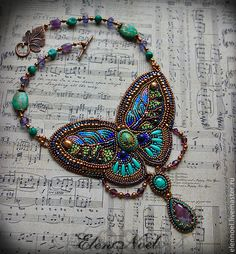 """""""Summer On the Wings of a Butterfly"""" by Elena Noel. Made of turquoise, malachite, lapis lazuli beads, beads of amethyst, ruby tsiozite, freshwater pearls and Swarovski pearls, faceted Czech crystal and Japanese seed beads."""