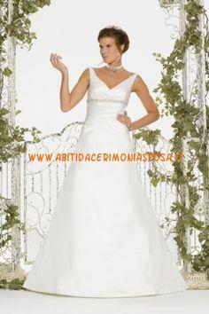 scollo a V in rilievo di raso bianco abito da sposa annata 2013