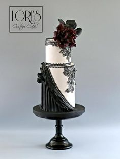 Hi lovely peeps! This is my piece for the Couture Cakers Collaboration. Please go check it out some AMAZING pieces out there…. WELCOME to the Couture Cakers International. Every week, the Couture Cakers will showcase a new group of cakes, cookies. Black And White Wedding Cake, Black Wedding Cakes, Candy Cakes, Cupcake Cakes, Gorgeous Cakes, Amazing Cakes, Double Barrel Cake, Couture Cakes, Cakes For Women